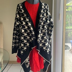 Sweaters - Houndstooth knit sweater/ cardigan- oversized